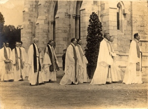 A procession of priests from the 1919 dedication of the cathedral in my parents' hometown. It would look the same today - no women.