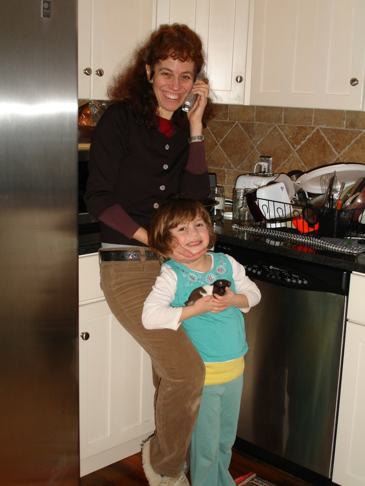 Writer Janet in the kitchen with her daughter, Dariel.