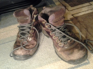 My old Timberlands. If you think they look good here, imagine them with a knee-length hospital gown.