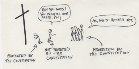 """The Bill of Rights in stick figures. Illustration from """"The Violation of the Bishops."""" Click the sticks to read."""