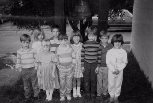 Friendship's earliest bonds. I'm the blondie in the dress.