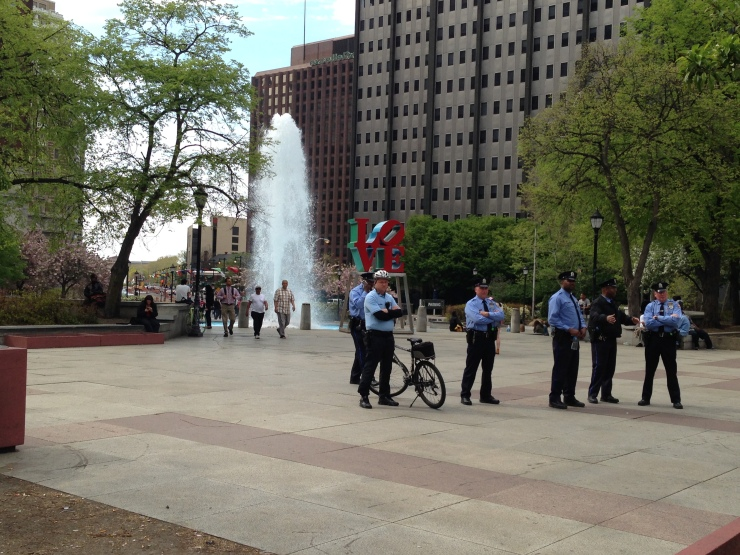 Cops gathered early in Love Park.