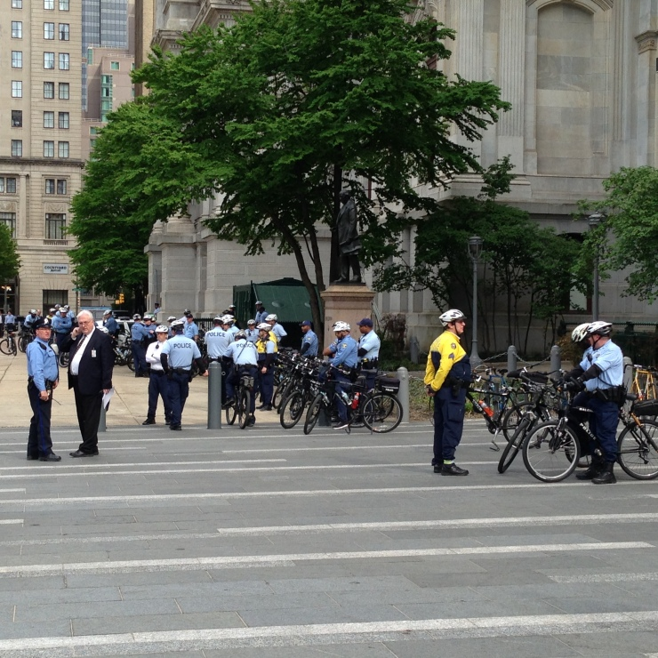 A long line of police officers on bikes were ready for the crowd to move.